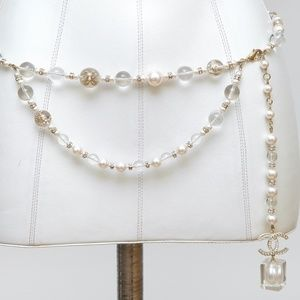 CHANEL PEARL Chain Belt Necklace Crystal Lucite